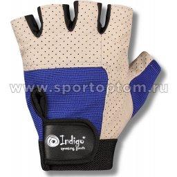 Перчатки для фитнеса INDIGO с узким напульсником и/замша,сетка,эластан 97836 IR XL Серо-синий