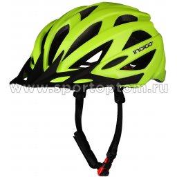 Шлем велосипедный взрослый INDIGO 21 вентиляционных отверстий IN069 55-61см Салатовый