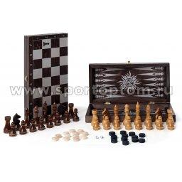 Игра 3 в 1 деревянная Классика (шахматы,нарды,шашки) 297-18 40*40 см Венге