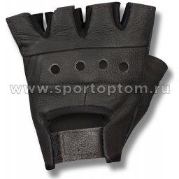 Перчатки для фитнеса Кожа  Е080 Черный