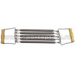 Эспандер плечевой INDIGO 5 пружин деревянные ручки 97702 IR W 60 см