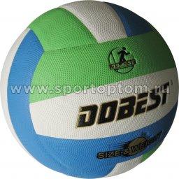Мяч волейбольный DOBEST тренировочный  клееный (PU, микрофибра) 1010GWB Бело-голубо-зеленый