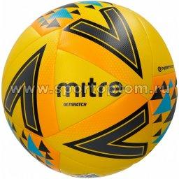 Мяч футбольный №5  MITRE ULTIMATCH HYPERSEAM матчевый (термопластичн.PU) BB1117YOU Желто-оранжево-синий