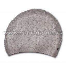 Шапочка для плавания силиконовая  длинные волосы рифленная INDIGO 701 SC Серый