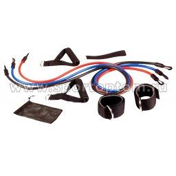 Эспандер в наборе 3 латексных жгута разной нагрузки для степа HAWK 208 HKCE 120 см Красный, Синий, Черный