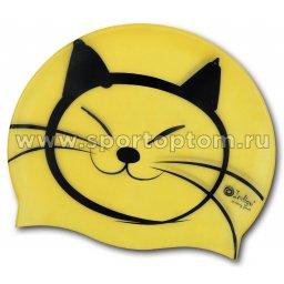 Шапочка для плавания силиконовая  INDIGO детская Котик SCCT506 Желтый