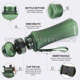Бутылка для воды с сеточкой UZSPACE 500мл тритан 6008 Зеленый матовый (3)