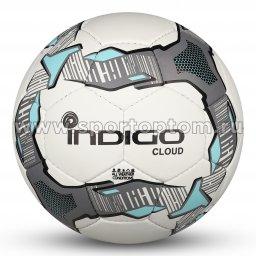 Мяч футбольный №4 INDIGO CLOUD тренировочный (PU 1.2 мм) Юниор IN034 Бело-серо-голубой