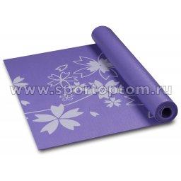 Коврик для йоги и фитнеса INDIGO PVC с рисунком Цветы  YG03P 173*61*0,3 см Фиолетовый