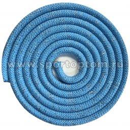 Скакалка для художественной гимнастики Утяжеленная 150 г INDIGO Люрекс SM-122 2.5 м Голубой
