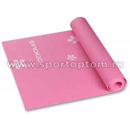 Коврик для йоги и фитнеса INDIGO PVC с рисунком Цветы  YG03P 173*61*0,3 см Розовый
