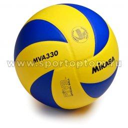 Мяч волейбольный MIKASA  тренировочный клееный MVA 330 Сине-Жёлтый