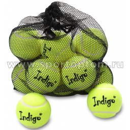 Мяч для большого тенниса INDIGO (12 шт в сетке) начальный уровень IN153 Желтый