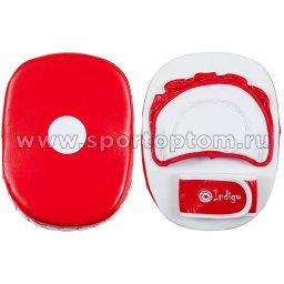 Лапа боксерская  INDIGO натуральная кожа (пара) PS-907 24*19*12 см Красно-белый