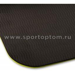 Коврик для йоги и фитнеса INDIGO TPE перфорированный двусторонний IN105 Салатово-черный (4)