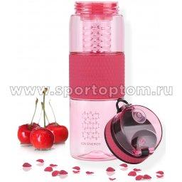 Бутылка для воды с нескользящей вставкой, колбой,сеточкой UZSPACE 700мл тритан 5061 Розовый (6)