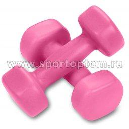 Гантели обливные неопреновые EURO CLASSIC  EK-213 1,0кг*2шт Розовый