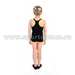 Шорты гимнастические детские INDIGO c окантовкой SM-218 Черный-желтый (3)