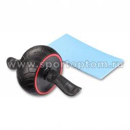 Ролик гимнастический 1 колесо INDIGO возвратный механизм с ковриком IN281 35*20 см Черно-красный