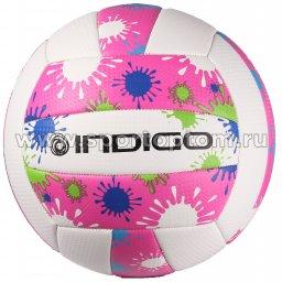 Мяч волейбольный INDIGO BRILLANTE любительский шитый (PVC 1,6 мм) 100082 Бело-розовый