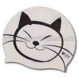 Шапочка для плавания силиконовая  INDIGO детская Котик SCCT509 Белый