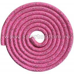 Скакалка для художественной гимнастики Утяжеленная 180 г INDIGO Люрекс SM-124 3 м Розовый