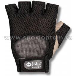 Перчатки для фитнеса INDIGO сетка микрофибра 97832 IR Черно-бежевый