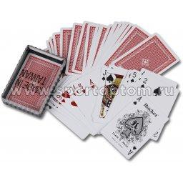 Карты игральные пластик. в пластиковом футляре 54л. S-1 /09219