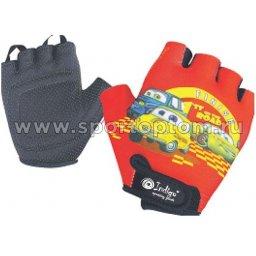 Перчатки вело детские Машинки INDIGO  SB-01-8872 Красный