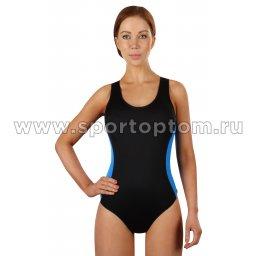 Купальник для плавания SHEPA слитный женский со вставками 006 Черно-голубой