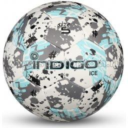 Мяч футбольный №5 INDIGO ICE тренировочный (PU) IN027 Бело-голубо-серый