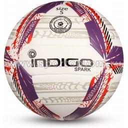 Мяч футбольный №5 INDIGO SPARK тренировочный (PU hybrid) IN158 Бело-фиолетово-красный