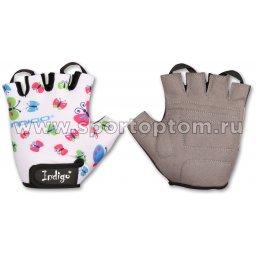 Перчатки вело детские INDIGO BUTTERFLY IN181 4XS Белый