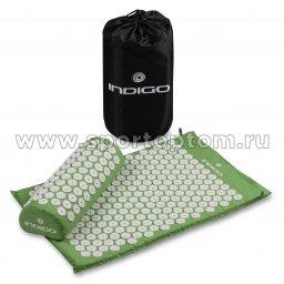 Коврик массажный с подушкой INDIGO IN186 67*42*2,5см, 38*15*10 см Зеленый