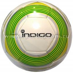 Мяч футбольный №5 INDIGO SUPER EXPRESSA матчевый бесшовный (PU Termo  molded) 14/056 Бело-зеленый