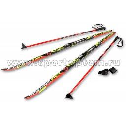 Лыжный комплект полупластиковый STC (лыжи, NNN крепления, палки) 195 см