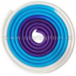 Скакалка для художественной гимнастики утяжеленная трехцветная INDIGO 165 г IN167 3 м Бело-сине-фиолетовый
