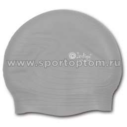 Шапочка для плавания силиконовая  INDIGO детская Волна  SC301 Серый
