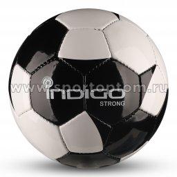 Мяч футбольный №4 INDIGO STRONG тренировочный (PU SEMI) Юниор IN033 Бело-черный