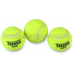 Мяч для большого тенниса TELOON (3 шт в тубе) тренировочный Супер 626Т Р3 Желтый