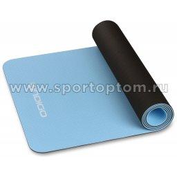 Коврик для йоги и фитнеса INDIGO TPE двусторонний IN106 Голубо-черный (3)