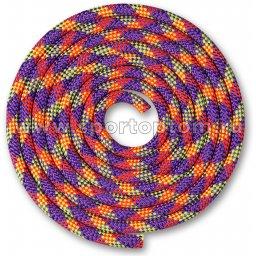 Скакалка для художественной гимнастики Утяжеленная 150 г INDIGO SM-359 2,5 м Фиолетово-кораллово-лимонный