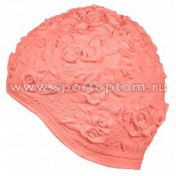 Шапочка для плавания INDIGO женская объемный рисунок Розы  IN083 Розовый