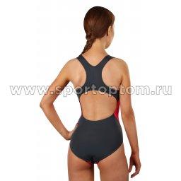 Купальник для плавания SHEPA совместный женский со вставками 009 Серый-цикламеновый (2)