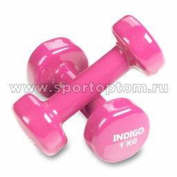 Гантели обливные с виниловым покрытием INDIGO 92005 IR 1,0кг*2шт Розовый
