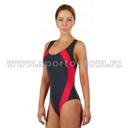 Купальник для плавания SHEPA совместный женский со вставками 009 Серый-цикламеновый (3)