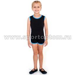 Майка гимнастическая INDIGO с окантовкой SM-197 Черный-бирюзовый (1)