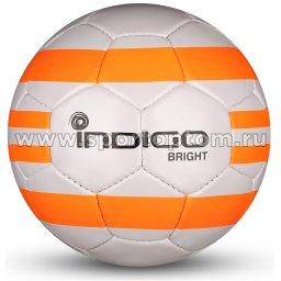 Мяч футбольный №5 INDIGO BRIGHT тренировочный (PU 1.2 мм) IN024 Серо-оранжевый