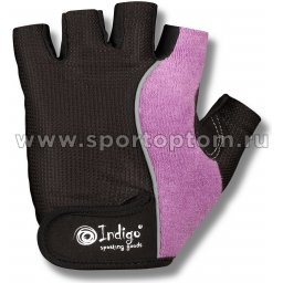 Перчатки для фитнеса женские INDIGO полиэстер, микрофибра 97852 IR M Черно-сиреневый