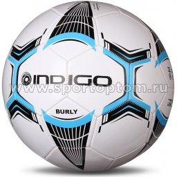 Мяч футбольный №5 INDIGO BURLY любительский (PVC 1.2 мм) 1134 Бело-голубо-серый